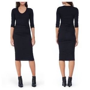 Michael stars ruched  tee shirt fitted midi dress